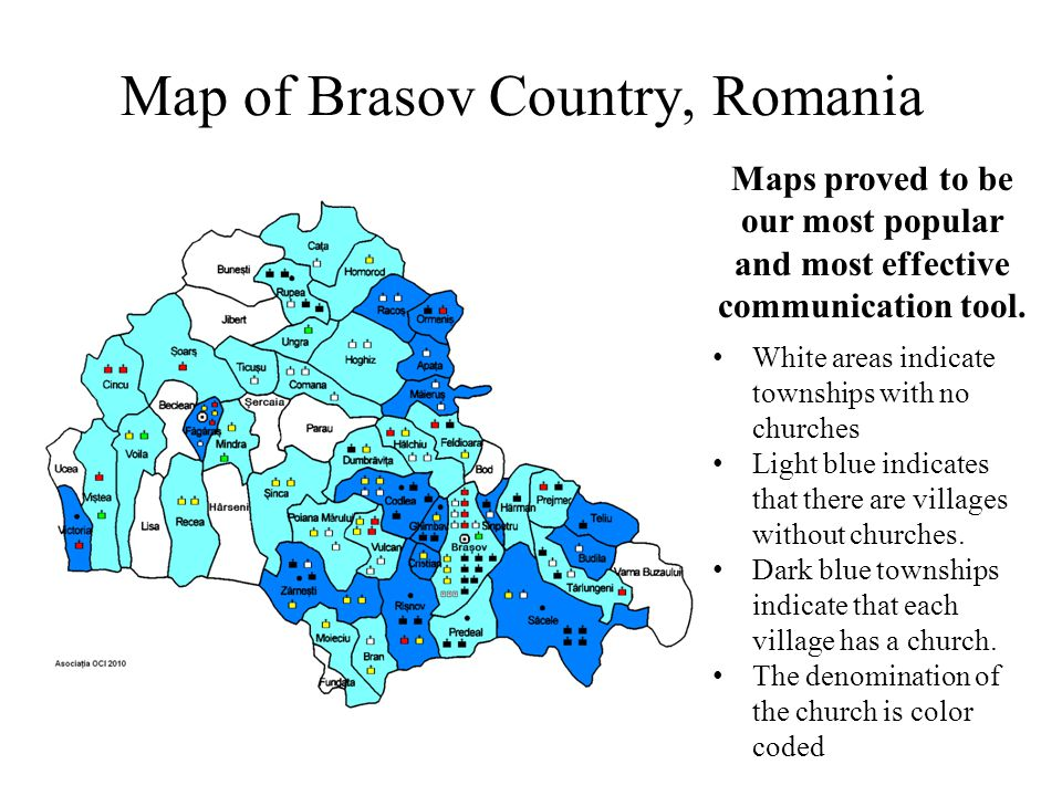 Map of Brasov Country, Romania Maps proved to be our most popular and most effective communication tool. White areas indicate townships with no church
