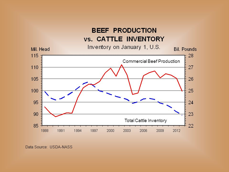 Commercial Beef Production Total Cattle Inventory Data Source: USDA-NASS