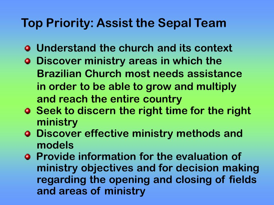 Top Priority: Assist the Sepal Team Understand the church and its context Discover ministry areas in which the Brazilian Church most needs assistance in order to be able to grow and multiply and reach the entire country Seek to discern the right time for the right ministry Discover effective ministry methods and models Provide information for the evaluation of ministry objectives and for decision making regarding the opening and closing of fields and areas of ministry