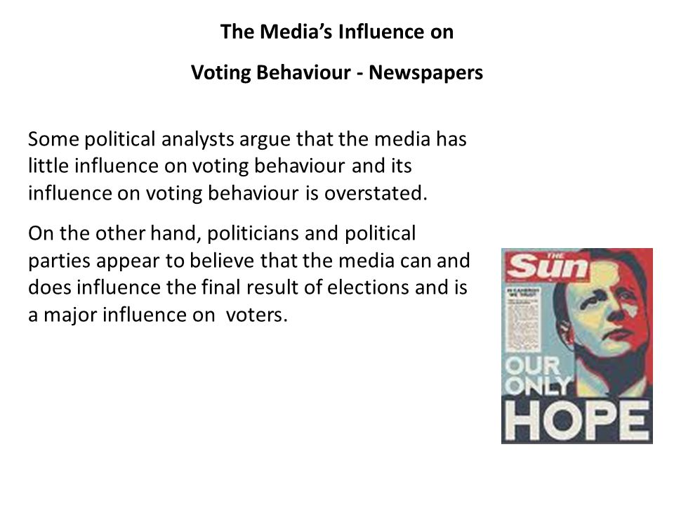 The Media's Influence on Voting Behaviour - Newspapers Some political analysts argue that the media has little influence on voting behaviour and its i