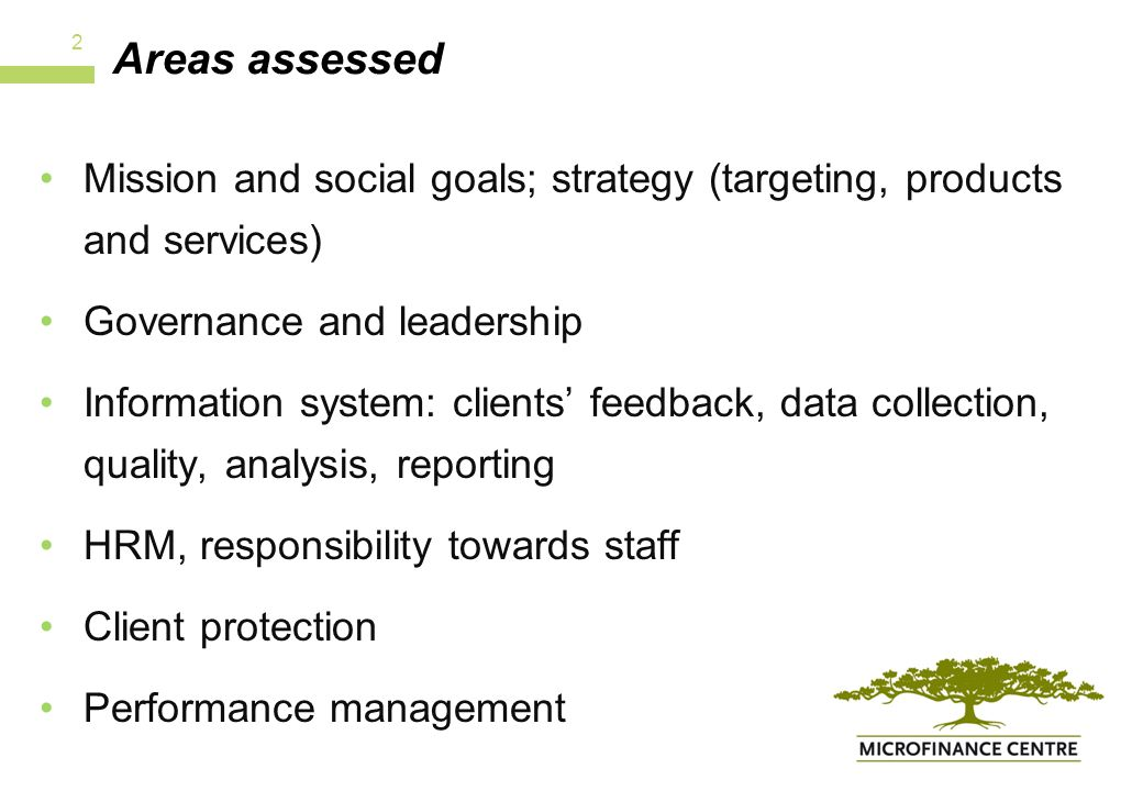 Areas assessed Mission and social goals; strategy (targeting, products and services) Governance and leadership Information system: clients' feedback, data collection, quality, analysis, reporting HRM, responsibility towards staff Client protection Performance management 2