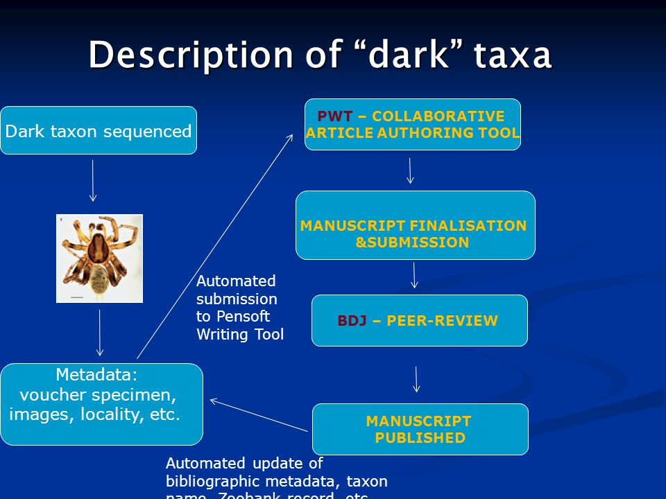 "Description of ""dark"" taxa PWT – COLLABORATIVE ARTICLE AUTHORING TOOL Dark taxon sequenced BDJ – PEER-REVIEW Automated submission to Pensoft Writing T"