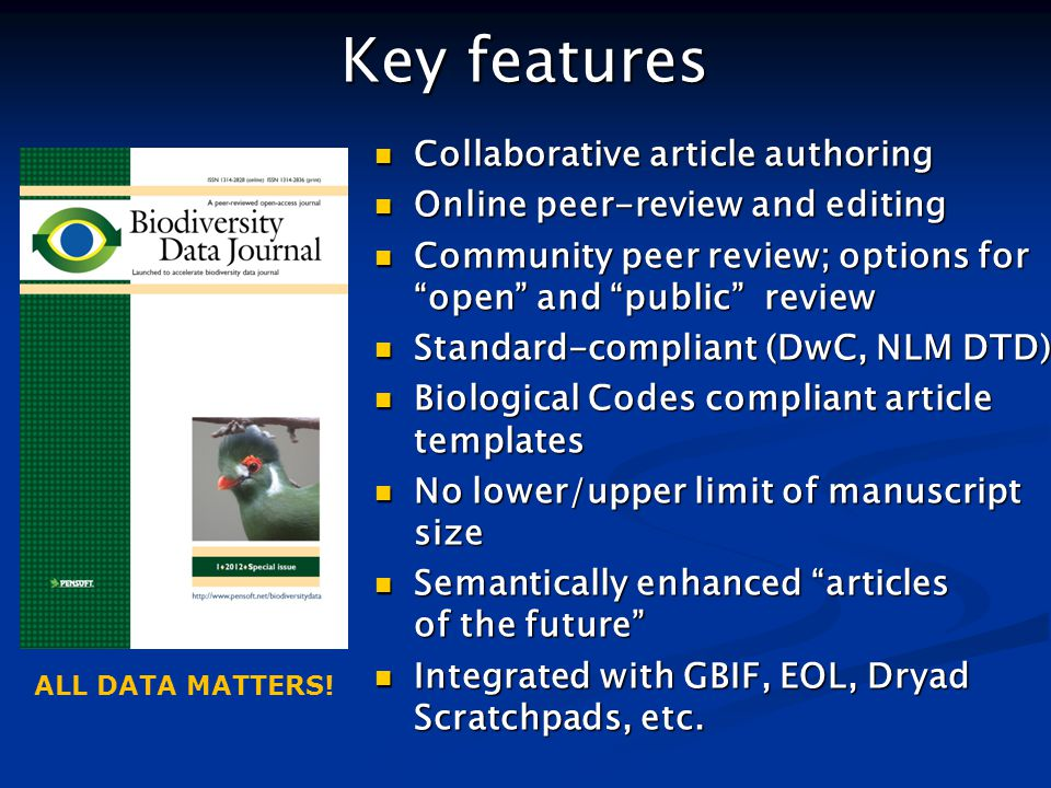 Key features Collaborative article authoring Collaborative article authoring Online peer-review and editing Online peer-review and editing Community p