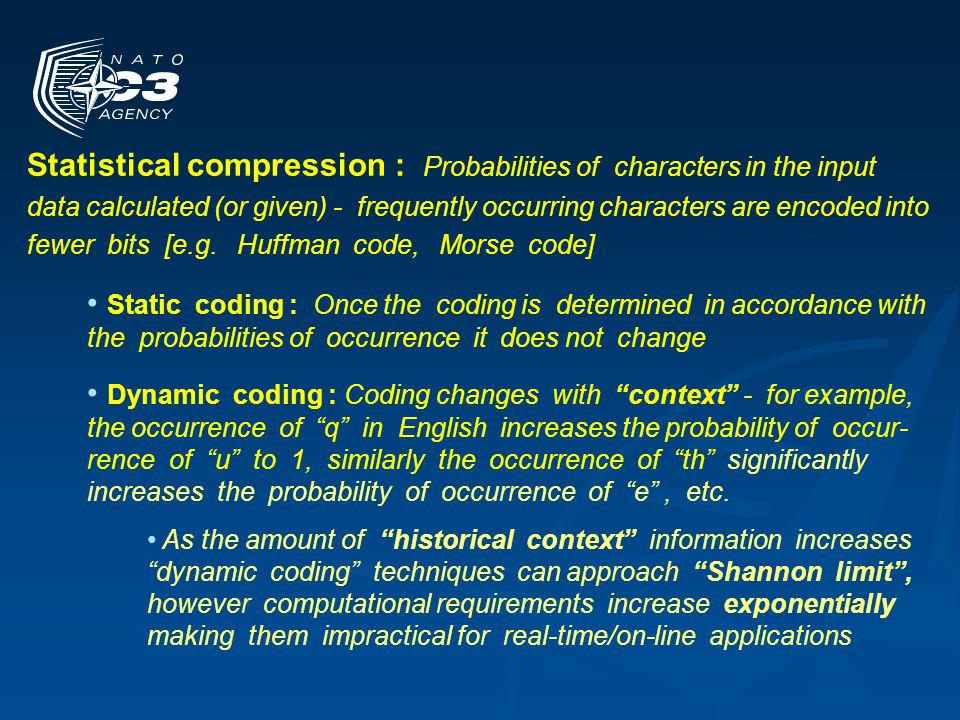 Substitutional compression : Identifies repeated strings of characters (longer the better) and replaces them with reference identifiers or tokens (shorter the better) - At the receiver the tokens are de-referenced and the reverse substitution performed Essentially a form of pattern recognition and classification Pattern detection/recognition generally much faster than computations needed for dynamic coding algorithms Most network compression techniques in use today use substitutional compression Compression techniques can also be combined – for example substitution based compression followed by static coding, etc.