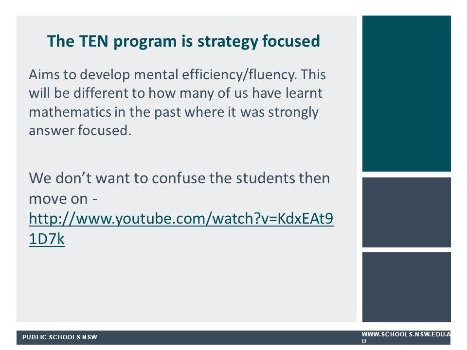 PUBLIC SCHOOLS NSW WWW.SCHOOLS.NSW.EDU.A U The TEN program is strategy focused Aims to develop mental efficiency/fluency.
