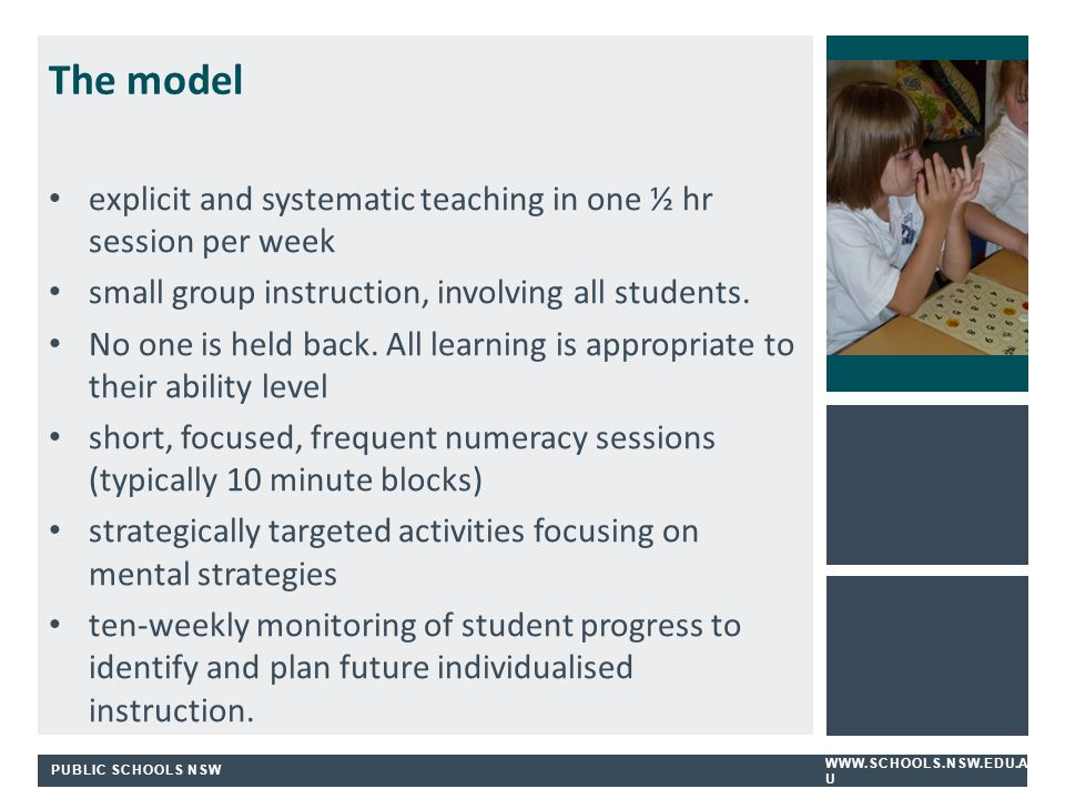 PUBLIC SCHOOLS NSW WWW.SCHOOLS.NSW.EDU.A U The model explicit and systematic teaching in one ½ hr session per week small group instruction, involving all students.