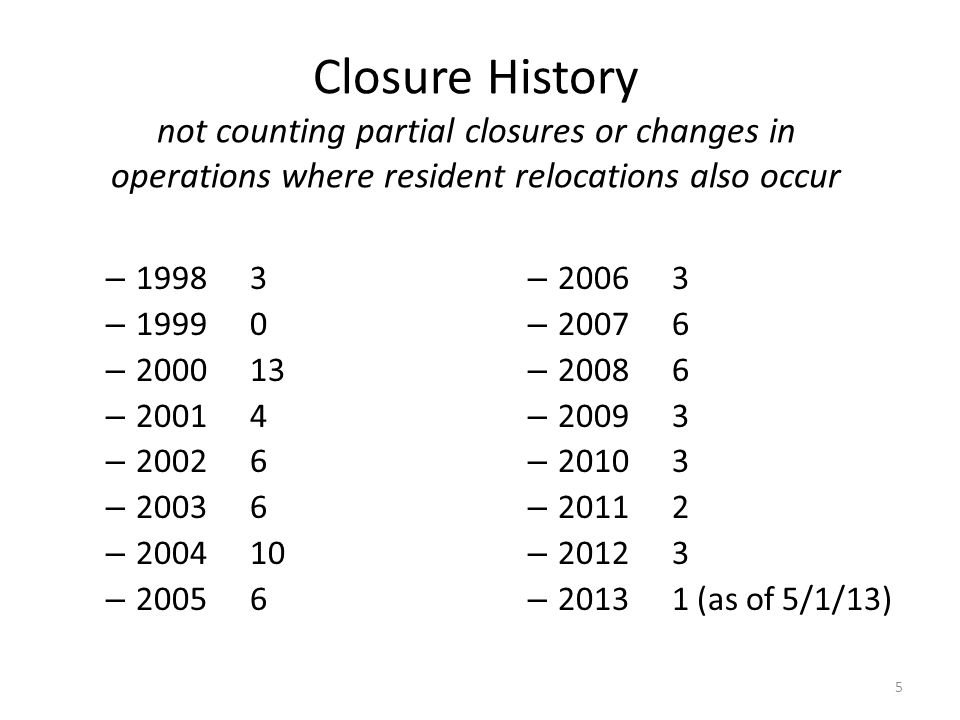 Closure History not counting partial closures or changes in operations where resident relocations also occur – 19983 – 19990 – 200013 – 20014 – 20026
