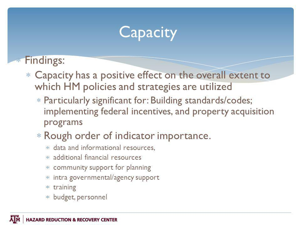 Capacity  Findings:  Capacity has a positive effect on the overall extent to which HM policies and strategies are utilized  Particularly significant for: Building standards/codes; implementing federal incentives, and property acquisition programs  Rough order of indicator importance.