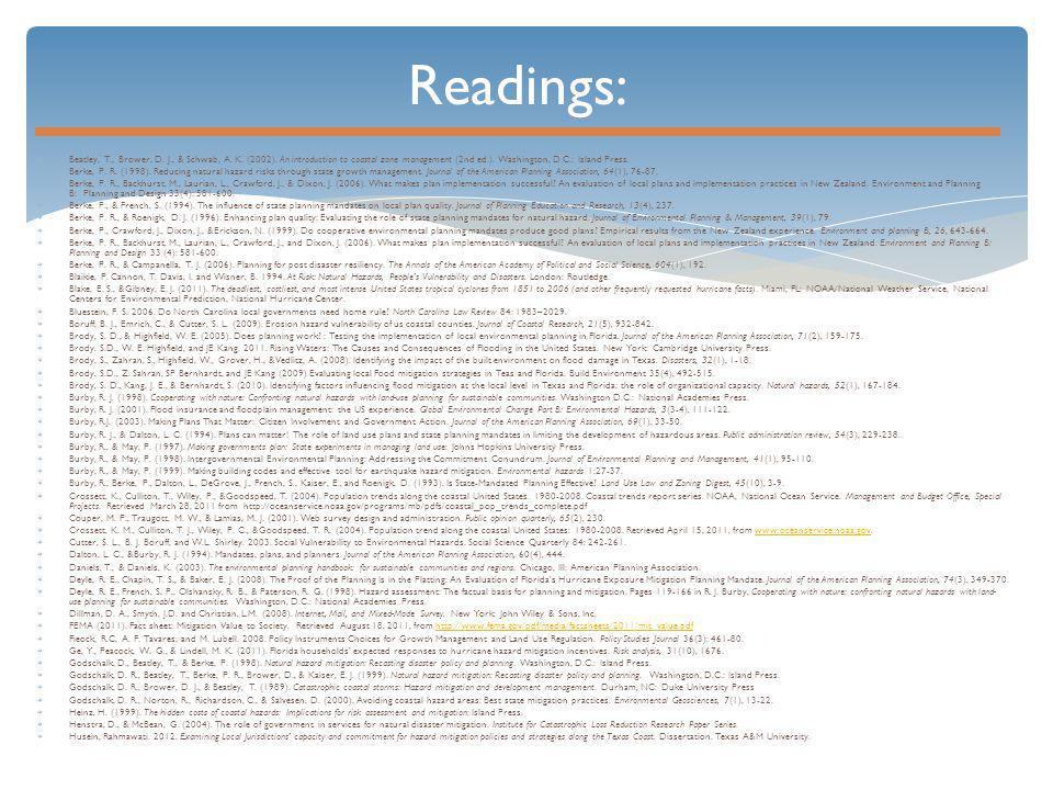 Readings:  Beatley, T., Brower, D. J., & Schwab, A.
