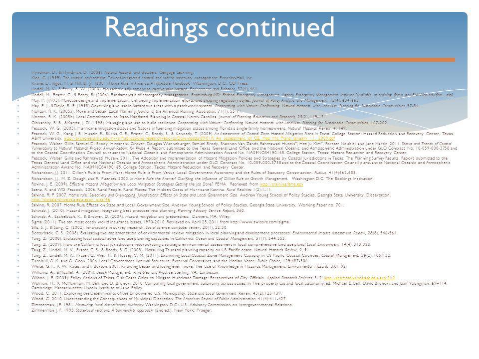 Readings continued  Hyndman, D., & Hyndman, D. (2006).