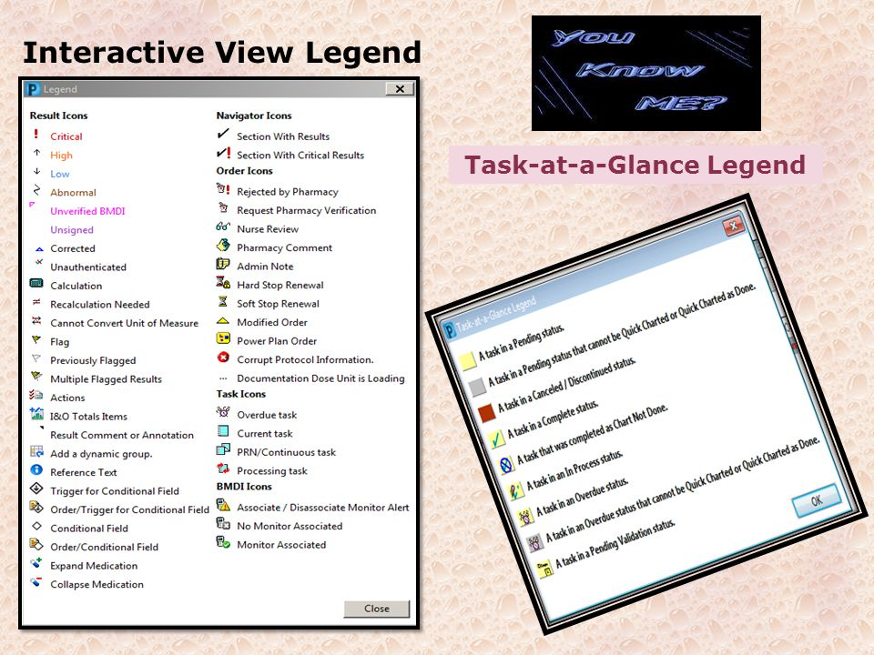 Interactive View Legend Task-at-a-Glance Legend