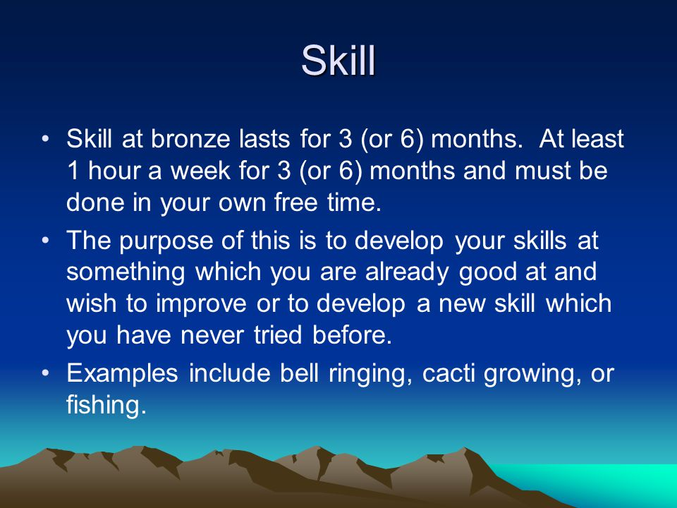 Skill Skill at bronze lasts for 3 (or 6) months.