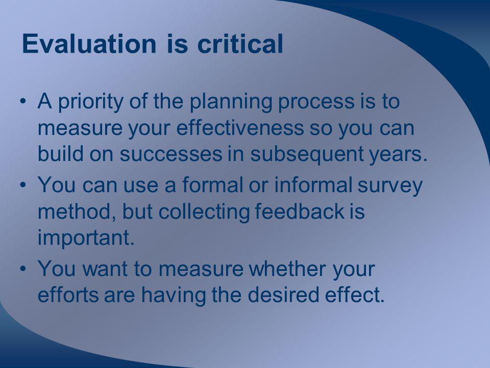 Evaluation is critical A priority of the planning process is to measure your effectiveness so you can build on successes in subsequent years.