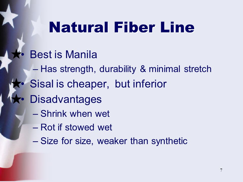 18 Making Up Lines Faking –Laying out line in figure eights so it is free to run without tangles Flemishing –Neat, ornamental way to store line on deck Coiling –Proper way to put line away in a locker or compartment Coiling Faking Flemishing
