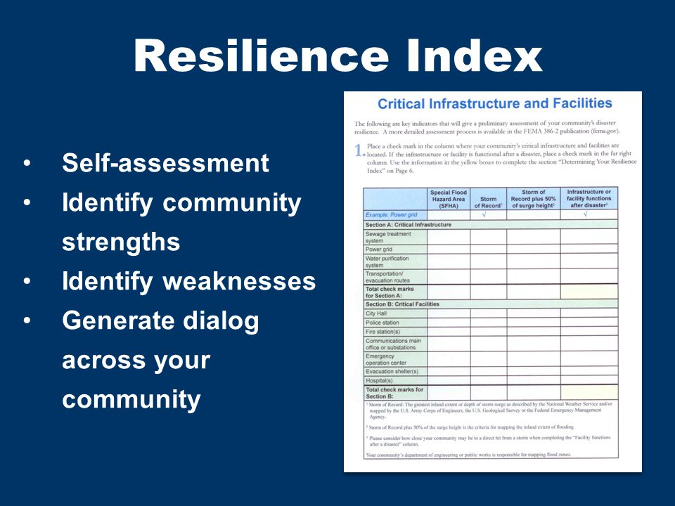 Resilience Index Self-assessment Identify community strengths Identify weaknesses Generate dialog across your community