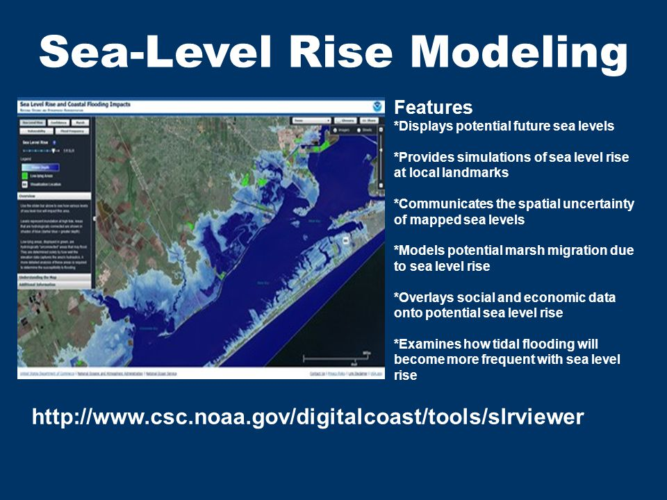 Sea-Level Rise Modeling http://www.csc.noaa.gov/digitalcoast/tools/slrviewer Features Displays potential future sea levels Provides simulations of sea level rise at local landmarks Communicates the spatial uncertainty of mapped sea levels Models potential marsh migration due to sea level rise Overlays social and economic data onto potential sea level rise Examines how tidal flooding will become more frequent with sea level rise Features *Displays potential future sea levels *Provides simulations of sea level rise at local landmarks *Communicates the spatial uncertainty of mapped sea levels *Models potential marsh migration due to sea level rise *Overlays social and economic data onto potential sea level rise *Examines how tidal flooding will become more frequent with sea level rise
