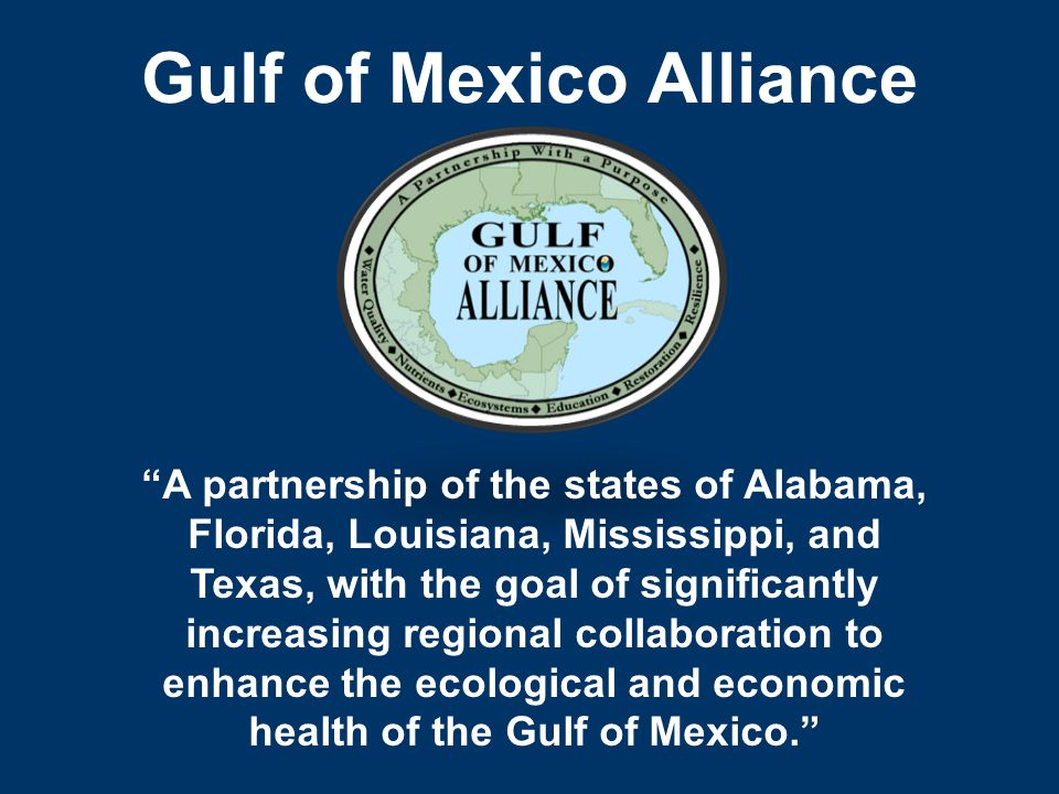 Gulf of Mexico Alliance A partnership of the states of Alabama, Florida, Louisiana, Mississippi, and Texas, with the goal of significantly increasing regional collaboration to enhance the ecological and economic health of the Gulf of Mexico.