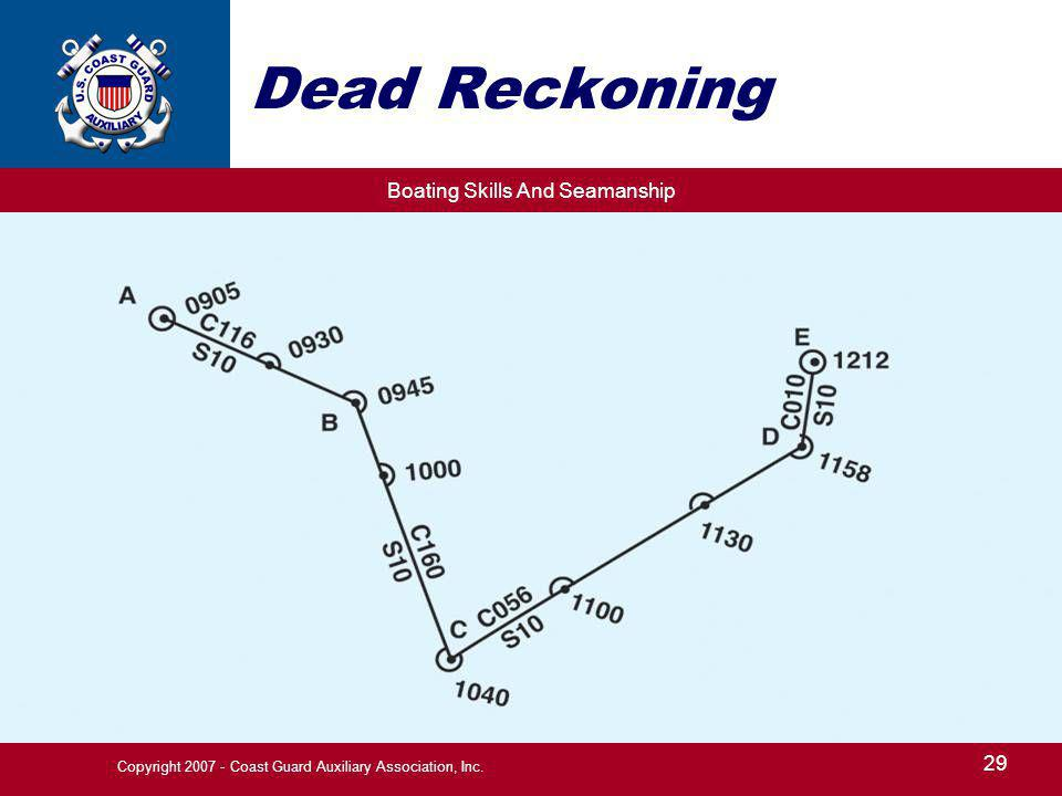 Boating Skills And Seamanship 29 Copyright 2007 - Coast Guard Auxiliary Association, Inc. Dead Reckoning