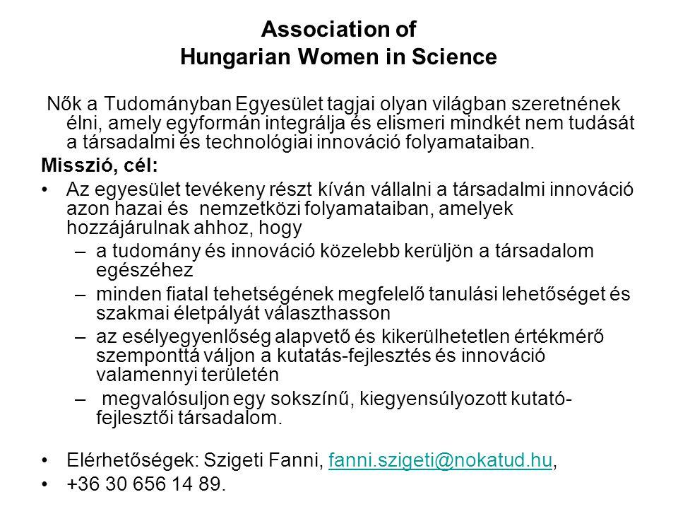 Association of Hungarian Women in Science Nők a Tudományban Egyesület tagjai olyan világban szeretnének élni, amely egyformán integrálja és elismeri mindkét nem tudását a társadalmi és technológiai innováció folyamataiban.