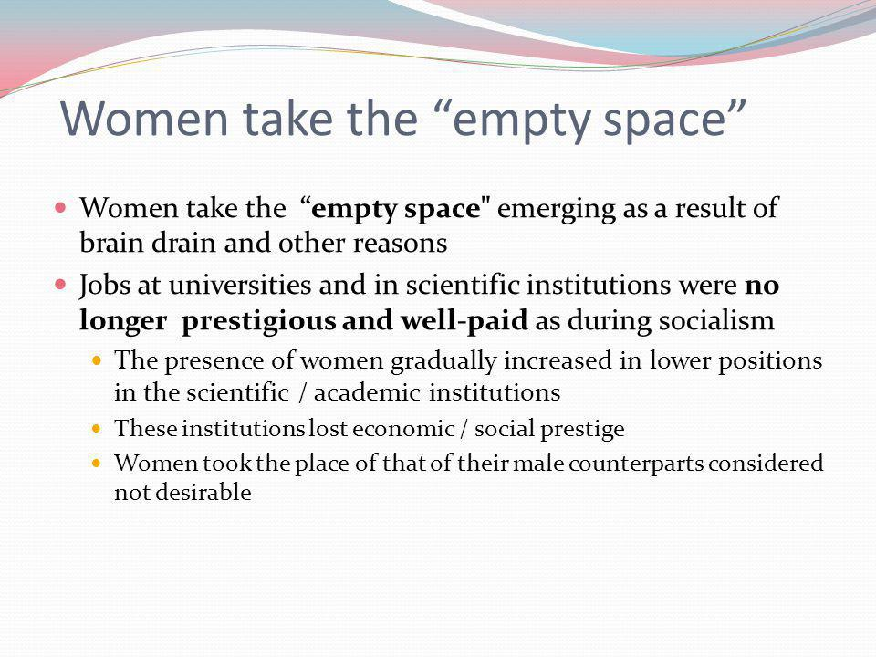 "Women take the ""empty space"" Women take the ""empty space"