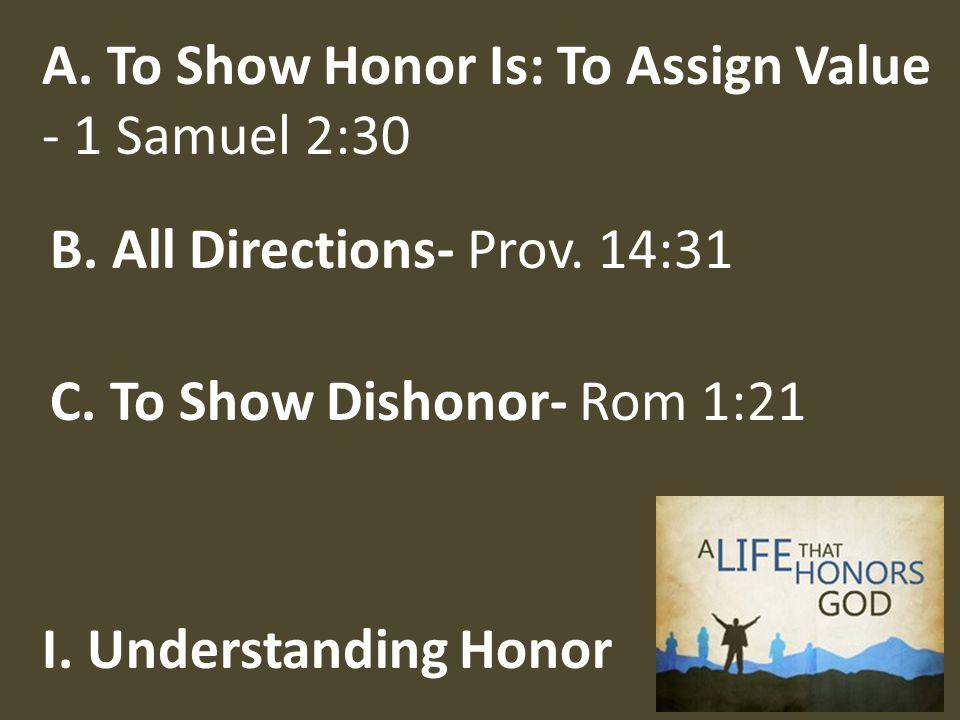 I. Understanding Honor C. To Show Dishonor- Rom 1:21 B.