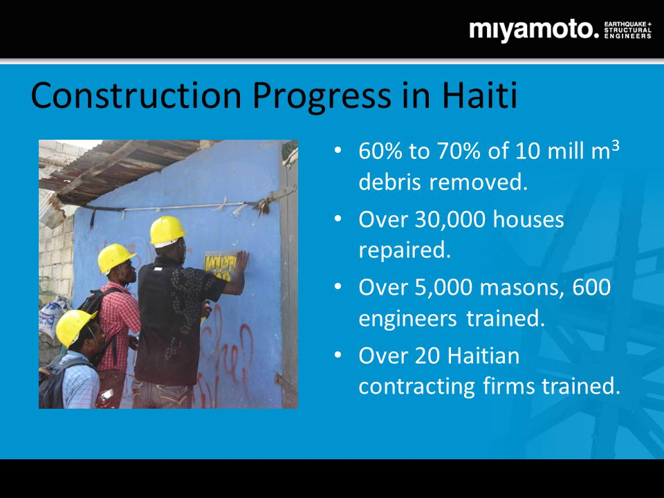 Construction Progress in Haiti 60% to 70% of 10 mill m 3 debris removed. Over 30,000 houses repaired. Over 5,000 masons, 600 engineers trained. Over 2