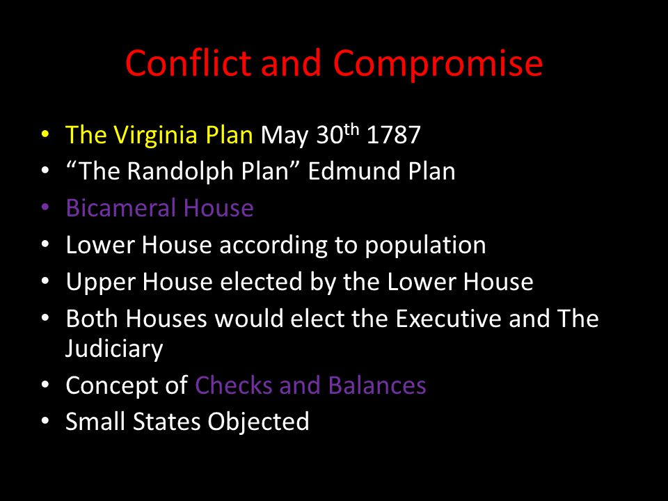 Conflict and Compromise The Virginia Plan May 30 th 1787 The Randolph Plan Edmund Plan Bicameral House Lower House according to population Upper House elected by the Lower House Both Houses would elect the Executive and The Judiciary Concept of Checks and Balances Small States Objected