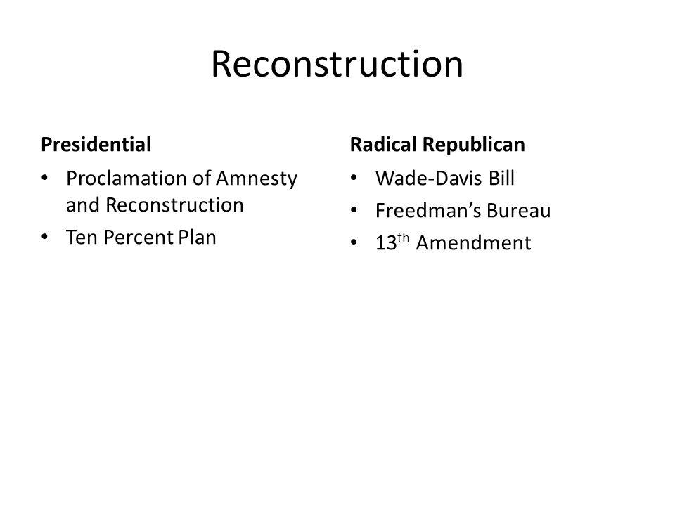 Reconstruction Presidential Proclamation of Amnesty and Reconstruction Ten Percent Plan Radical Republican Wade-Davis Bill Freedman's Bureau 13 th Amendment