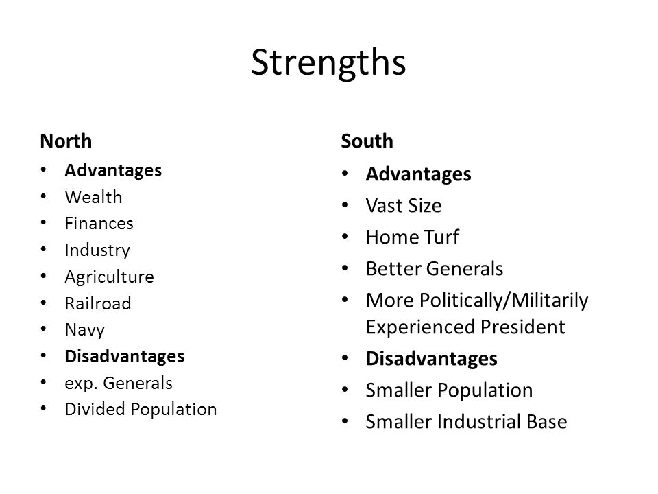 Strengths North Advantages Wealth Finances Industry Agriculture Railroad Navy Disadvantages exp.