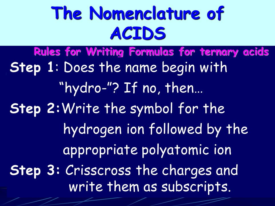 Rules for Writing Formulas for ternary acids Step 1: Does the name begin with hydro- .