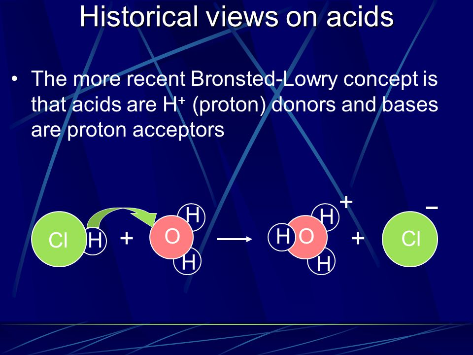 Historical views on acids The more recent Bronsted-Lowry concept is that acids are H + (proton) donors and bases are proton acceptors + ClH H H O + H H HO +