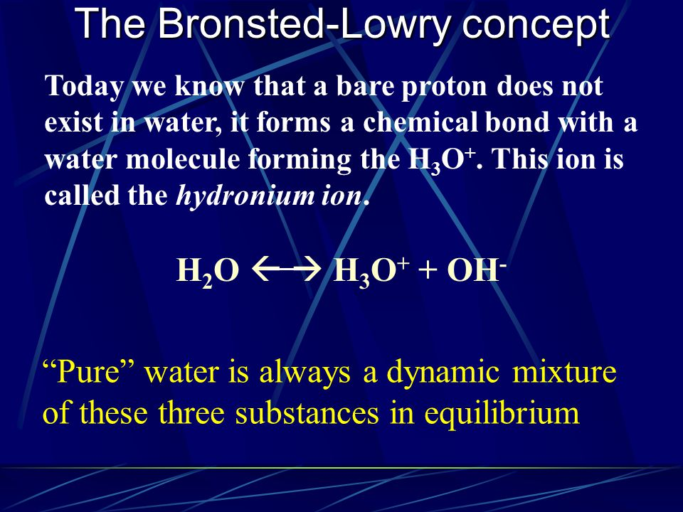 Today we know that a bare proton does not exist in water, it forms a chemical bond with a water molecule forming the H 3 O +. This ion is called the h