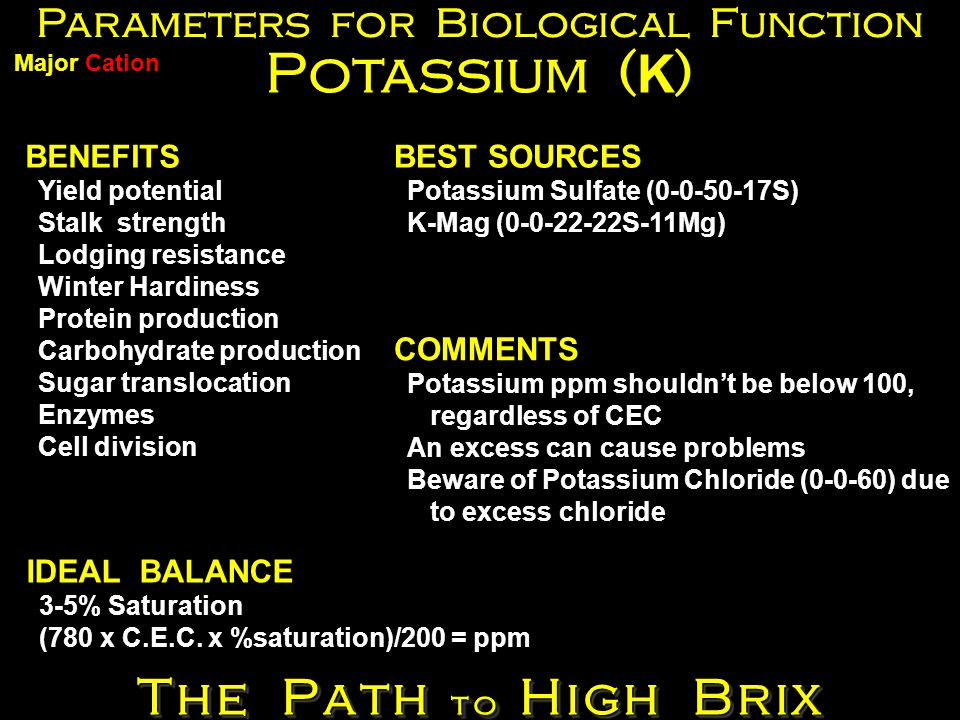 Parameters for Biological Function Potassium ( K ) BENEFITS Yield potential Stalk strength Lodging resistance Winter Hardiness Protein production Carbohydrate production Sugar translocation Enzymes Cell division BEST SOURCES Potassium Sulfate (0-0-50-17S) K-Mag (0-0-22-22S-11Mg) IDEAL BALANCE 3-5% Saturation (780 x C.E.C.