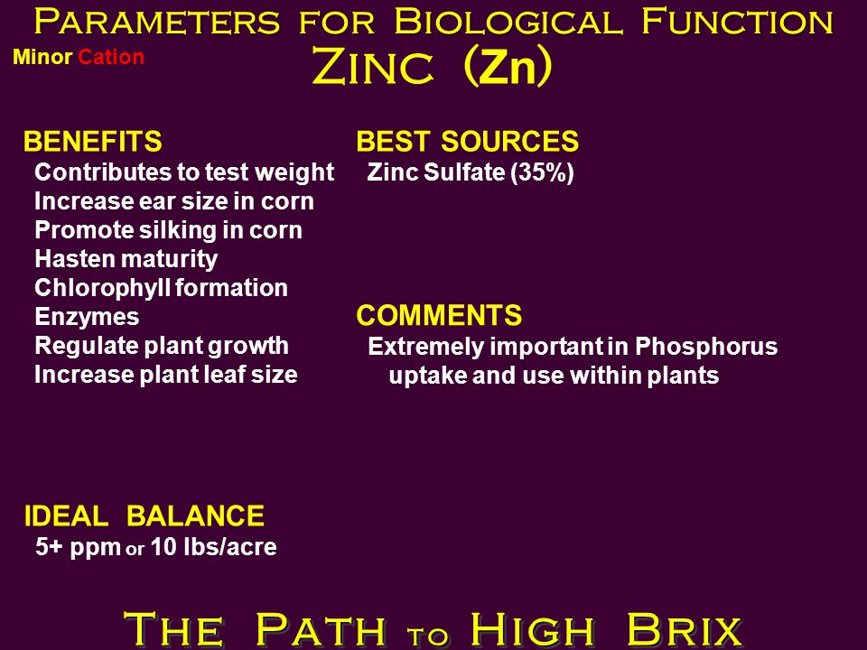 Parameters for Biological Function Zinc ( Zn ) BENEFITS Contributes to test weight Increase ear size in corn Promote silking in corn Hasten maturity Chlorophyll formation Enzymes Regulate plant growth Increase plant leaf size BEST SOURCES Zinc Sulfate (35%) IDEAL BALANCE 5+ ppm or 10 lbs/acre COMMENTS Extremely important in Phosphorus uptake and use within plants The Path to High Brix Minor Cation