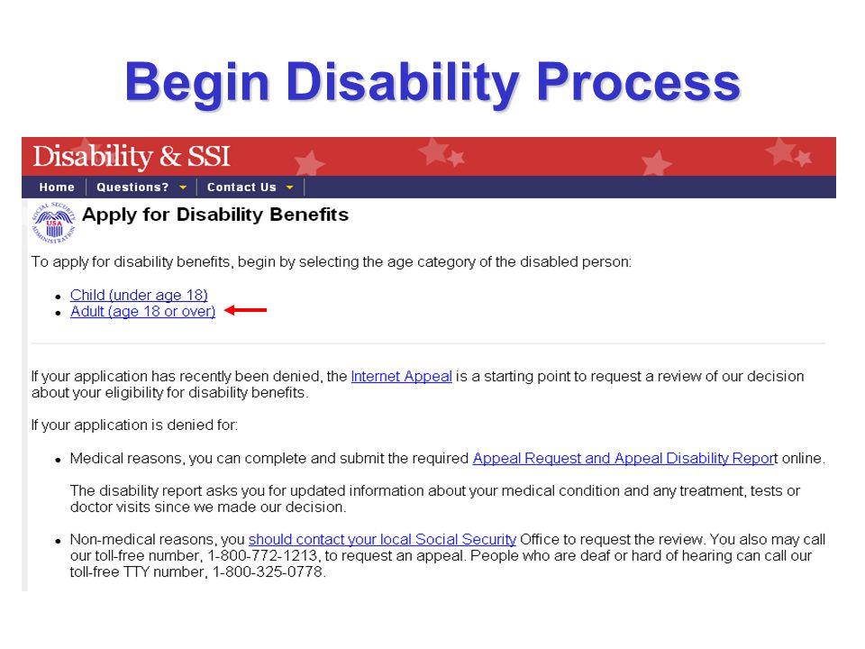 Begin Disability Process