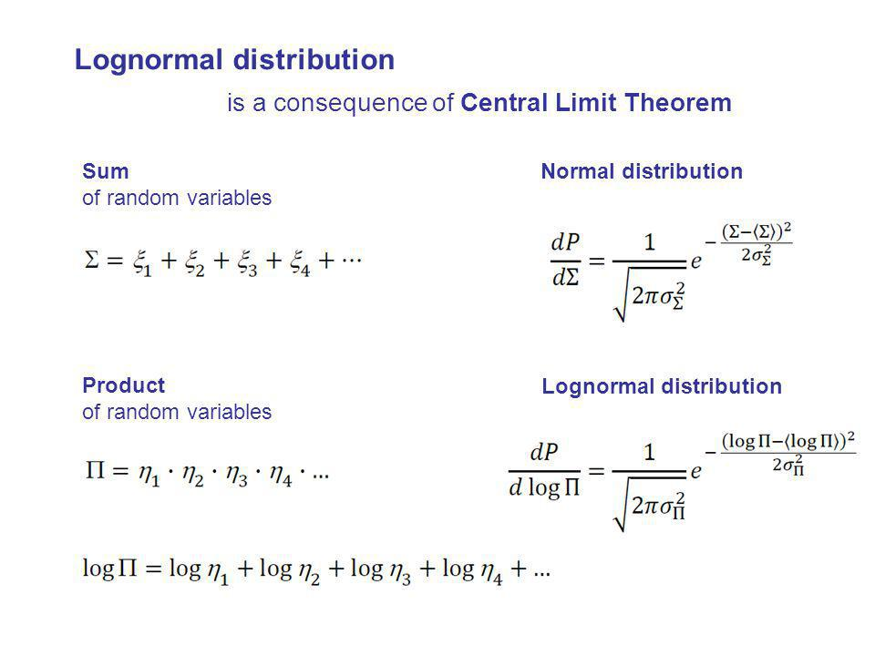 Lognormal distribution is a consequence of Central Limit Theorem Sum of random variables Normal distribution Lognormal distribution Product of random