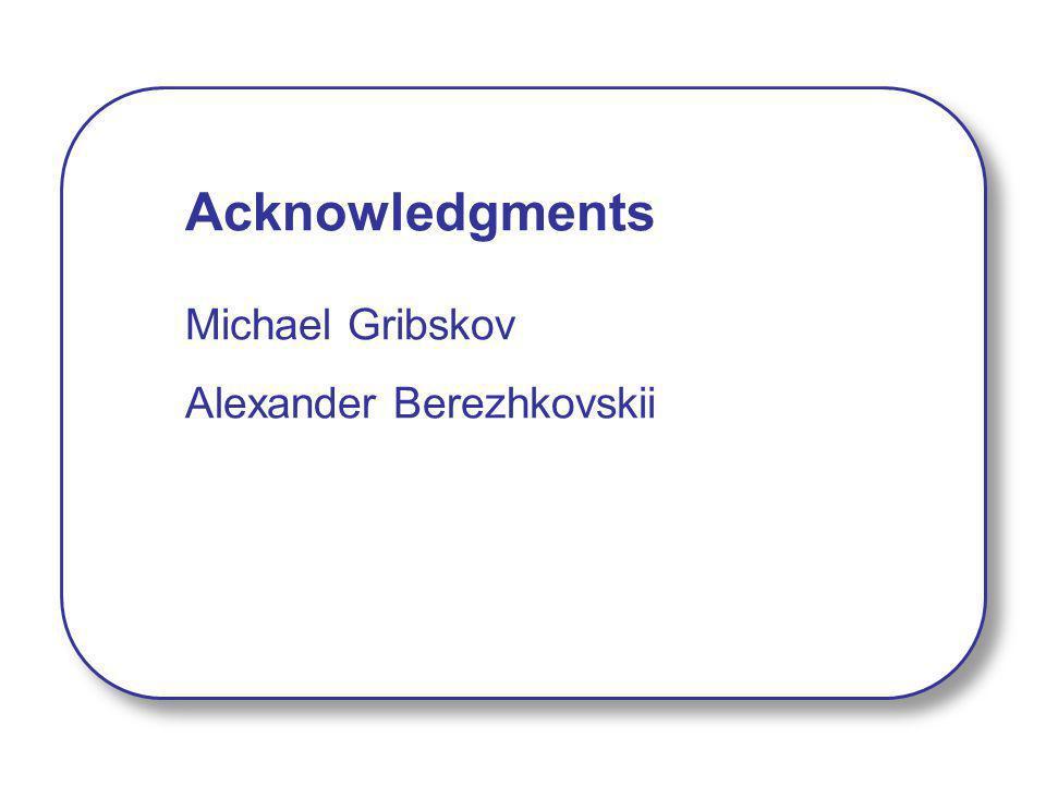 Acknowledgments Michael Gribskov Alexander Berezhkovskii