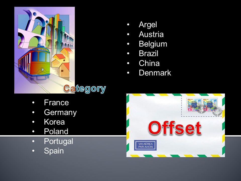 Argel Austria Belgium Brazil China Denmark France Germany Korea Poland Portugal Spain