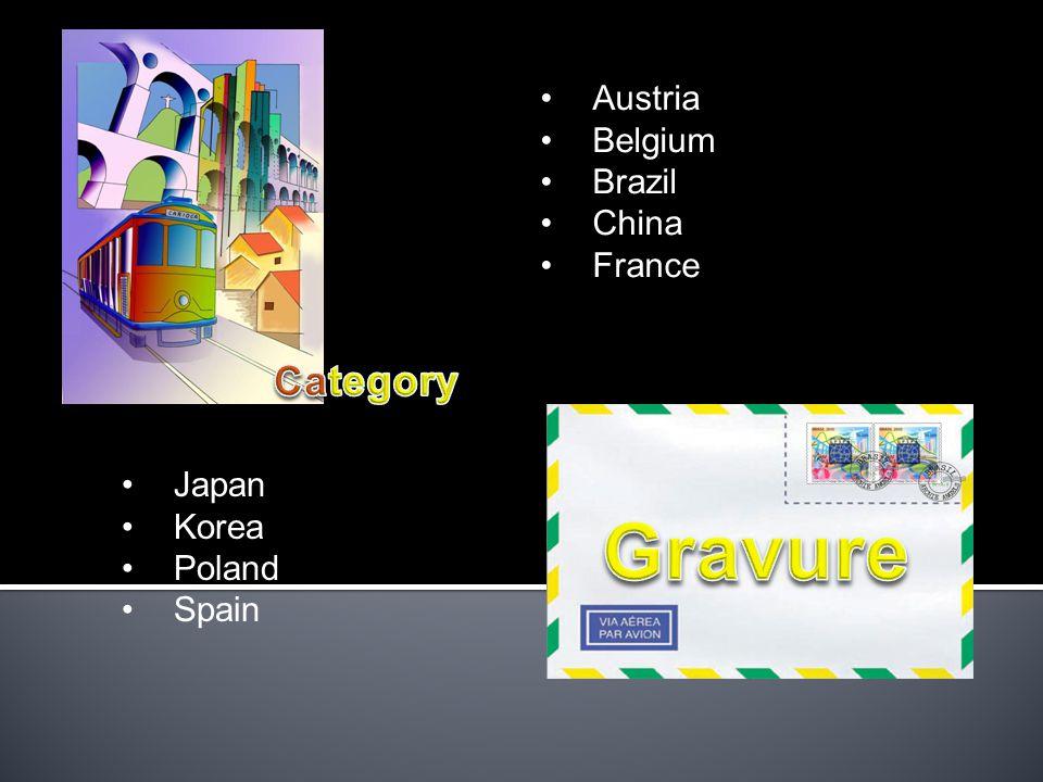 Austria Belgium Brazil China France Japan Korea Poland Spain