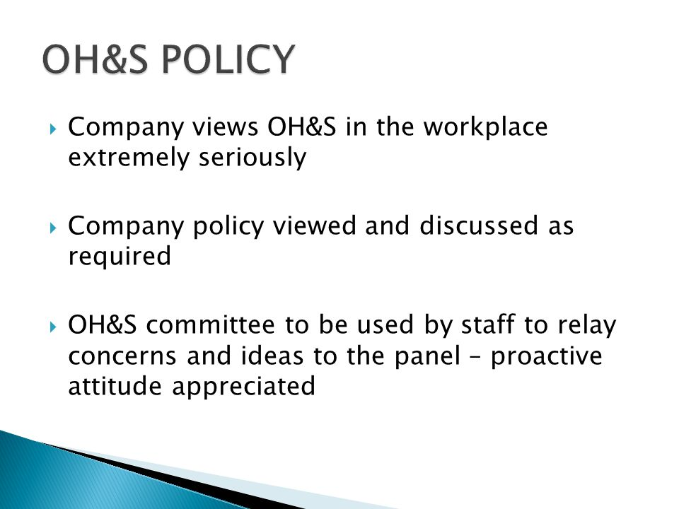  Copies of SOP's and policies available at any stage if unsure of specific requirement  All personnel to ensure adherence to safety procedures set b