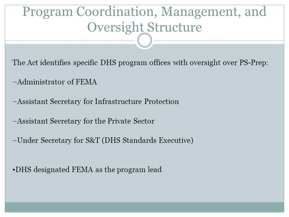 Program Coordination, Management, and Oversight Structure The Act identifies specific DHS program offices with oversight over PS-Prep: –Administrator of FEMA –Assistant Secretary for Infrastructure Protection –Assistant Secretary for the Private Sector –Under Secretary for S&T (DHS Standards Executive) DHS designated FEMA as the program lead