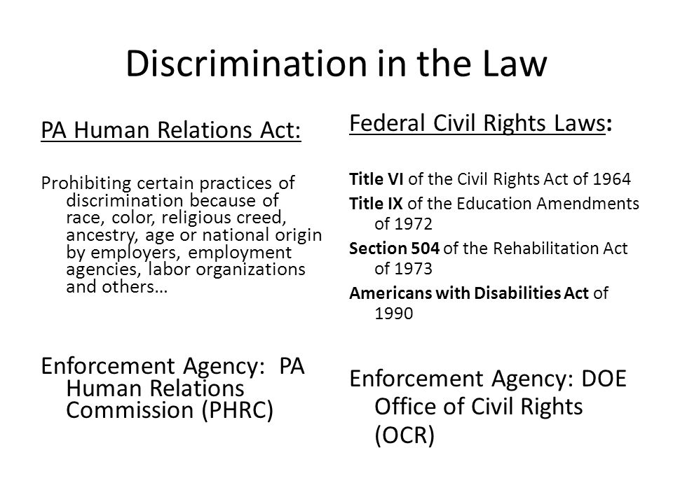 Discrimination in the Law PA Human Relations Act: Prohibiting certain practices of discrimination because of race, color, religious creed, ancestry, a