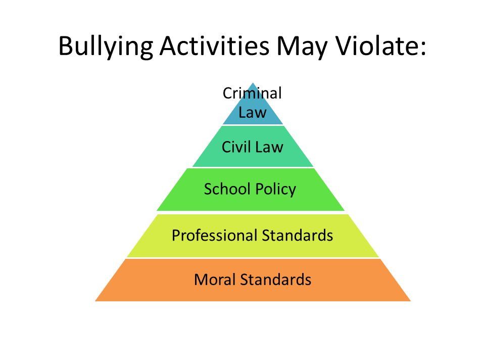 Bullying Activities May Violate: Criminal Law Civil Law School Policy Professional Standards Moral Standards