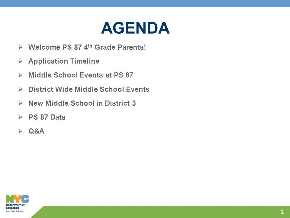 2 AGENDA  Welcome PS 87 4 th Grade Parents.