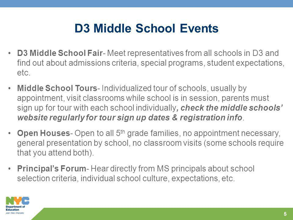 5 D3 Middle School Events D3 Middle School Fair- Meet representatives from all schools in D3 and find out about admissions criteria, special programs, student expectations, etc.