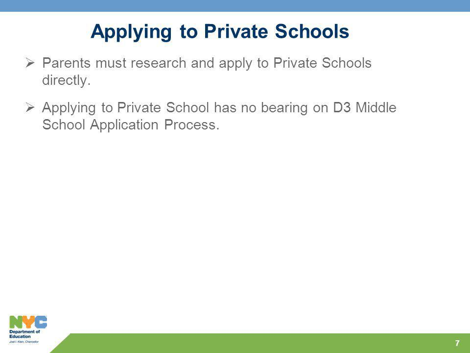 Applying to Private Schools  Parents must research and apply to Private Schools directly.