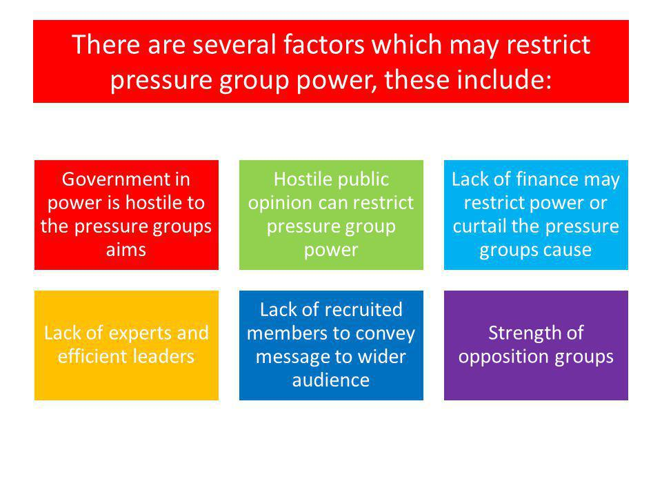 Government in power is hostile to the pressure groups aims A Government in power which is hostile to the pressure groups aims, an example would be the current governments stance to student groups upon the raising of student fees.