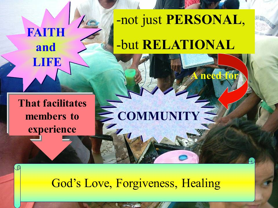 -not just PERSONAL, -but RELATIONAL FAITH and LIFE FAITH and LIFE A need for COMMUNITY That facilitates members to experience God's Love, Forgiveness, Healing