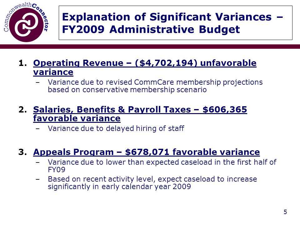 5 Explanation of Significant Variances – FY2009 Administrative Budget 1.Operating Revenue – ($4,702,194) unfavorable variance –Variance due to revised CommCare membership projections based on conservative membership scenario 2.Salaries, Benefits & Payroll Taxes – $606,365 favorable variance –Variance due to delayed hiring of staff 3.Appeals Program – $678,071 favorable variance –Variance due to lower than expected caseload in the first half of FY09 –Based on recent activity level, expect caseload to increase significantly in early calendar year 2009