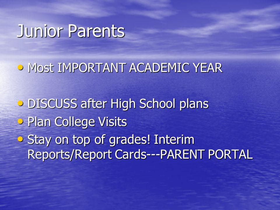 Junior Parents Most IMPORTANT ACADEMIC YEAR Most IMPORTANT ACADEMIC YEAR DISCUSS after High School plans DISCUSS after High School plans Plan College